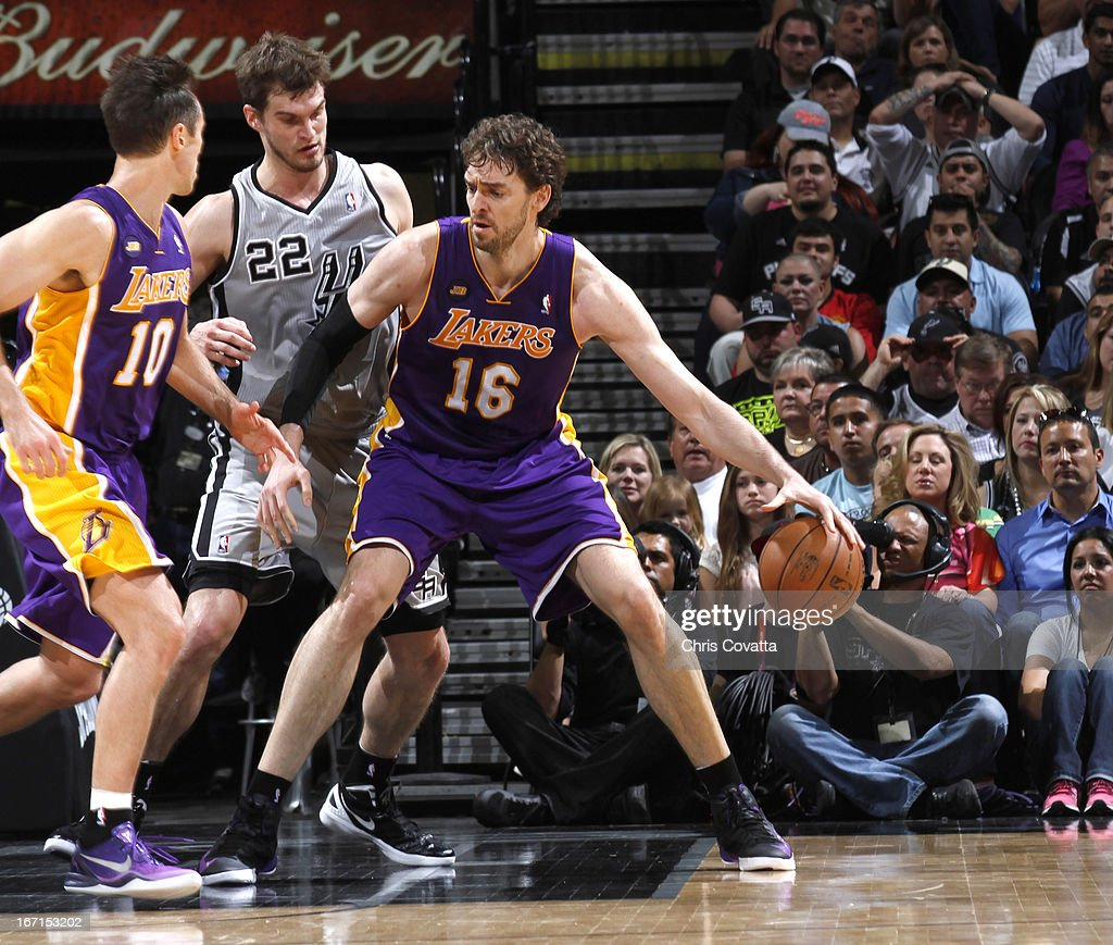 Pau Gasol #16 of the Los Angeles Lakers protects the ball during the Game One of the Western Conference Quarterfinals between the Los Angeles Lakers and the San Antonio Spurs on April 21, 2013 at the AT&T Center in San Antonio, Texas.
