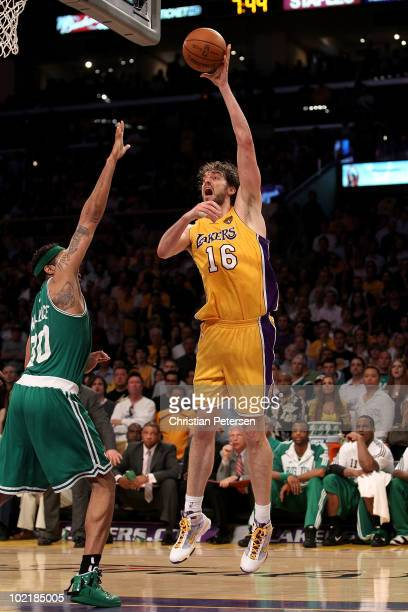 Pau Gasol of the Los Angeles Lakers puts a shot up over Rasheed Wallace of the Boston Celtics in Game Seven of the 2010 NBA Finals at Staples Center...