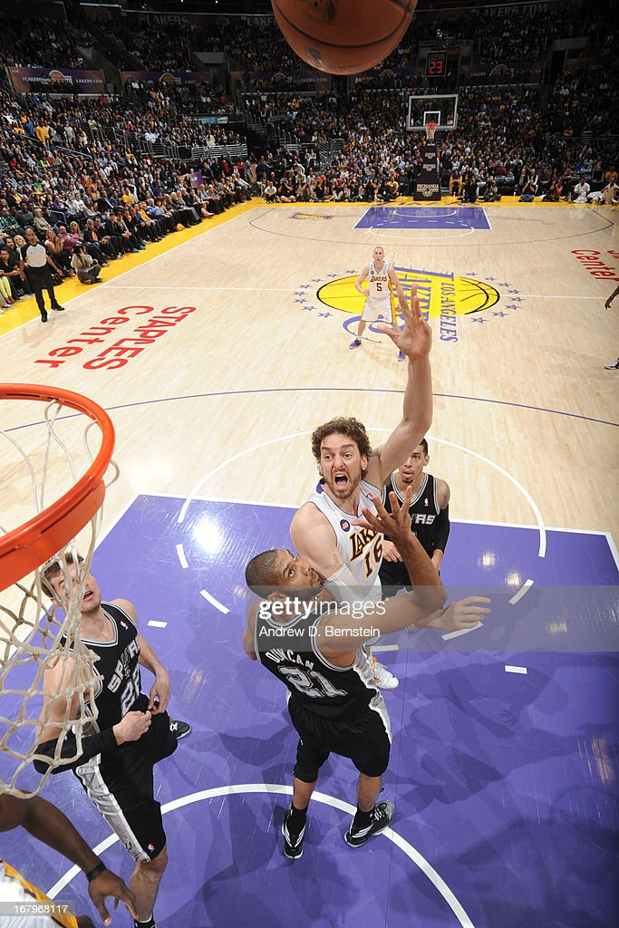 <a gi-track='captionPersonalityLinkClicked' href=/galleries/search?phrase=Pau+Gasol&family=editorial&specificpeople=201587 ng-click='$event.stopPropagation()'>Pau Gasol</a> #16 of the Los Angeles Lakers puts up a shot against the San Antonio Spurs at Staples Center on April 14, 2013 in Los Angeles, California.