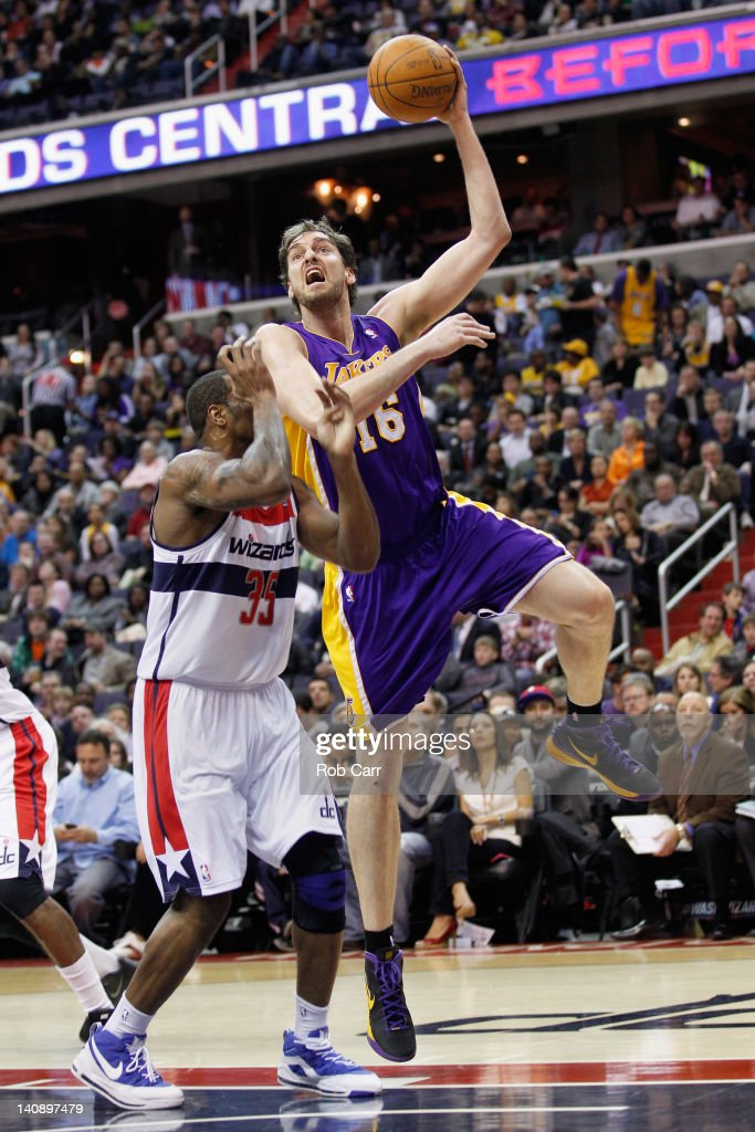 <a gi-track='captionPersonalityLinkClicked' href=/galleries/search?phrase=Pau+Gasol&family=editorial&specificpeople=201587 ng-click='$event.stopPropagation()'>Pau Gasol</a> #16 of the Los Angeles Lakers puts up a shot over Trevor Booker #35 of the Washington Wizards during the first half at the Verizon Center on March 7, 2012 in Washington, DC.
