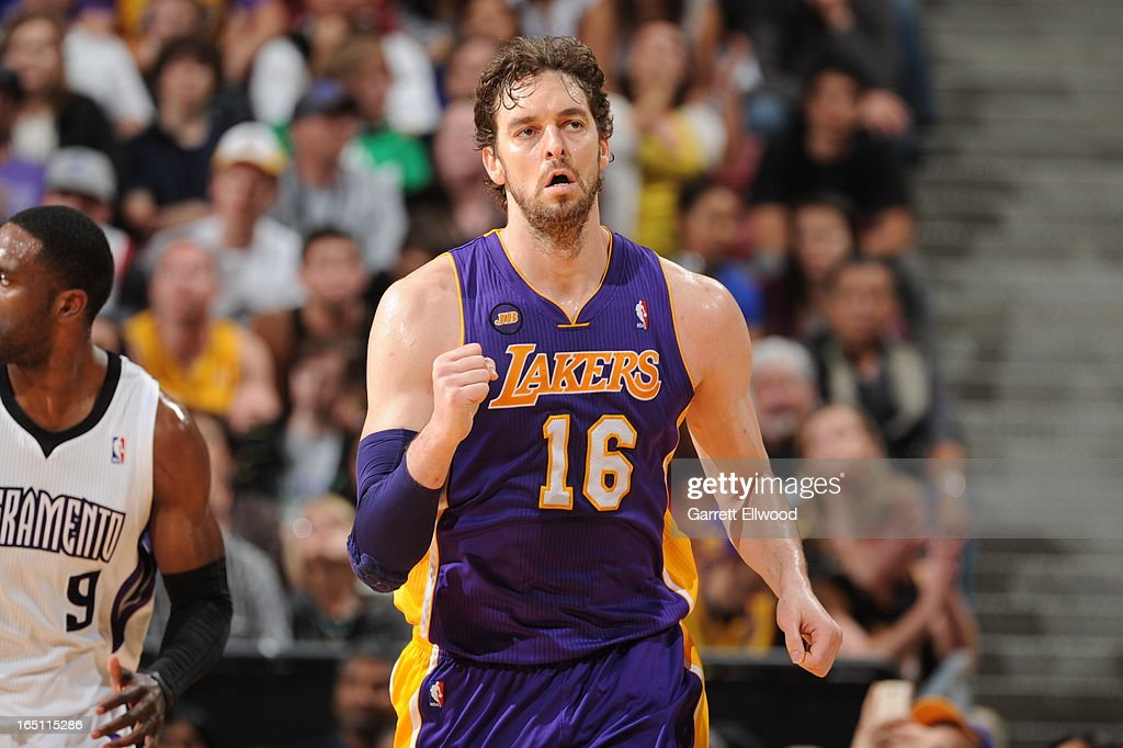<a gi-track='captionPersonalityLinkClicked' href=/galleries/search?phrase=Pau+Gasol&family=editorial&specificpeople=201587 ng-click='$event.stopPropagation()'>Pau Gasol</a> #16 of the Los Angeles Lakers reacts after the play against the Sacramento Kings on March 30, 2013 at Sleep Train Arena in Sacramento, California.