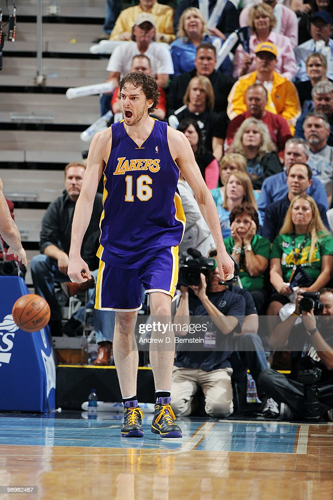 <a gi-track='captionPersonalityLinkClicked' href=/galleries/search?phrase=Pau+Gasol&family=editorial&specificpeople=201587 ng-click='$event.stopPropagation()'>Pau Gasol</a> of the Los Angeles Lakers reacts during the game against the Utah Jazz in Game Four of the Western Conference Semifinals during the 2010 NBA Playoffs at the EnergySolutions Arena on May 10, 2010 in Salt Lake City, Utah.