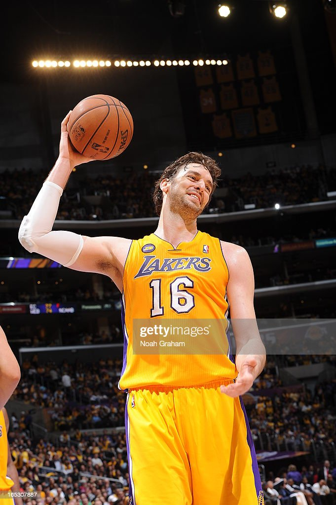 Pau Gasol #16 of the Los Angeles Lakers reacts in a game against the Dallas Mavericks at Staples Center on April 2, 2013 in Los Angeles, California.