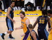 Pau Gasol of the Los Angeles Lakers reacts while taking on the Denver Nuggets in the fouth quarter in Game Seven of the Western Conference...