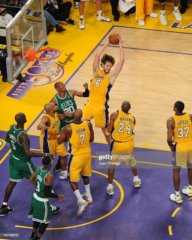 Pau Gasol #16 of the Los Angeles Lakers rebounds against the Boston Celtics in Game Seven of the 2010 NBA Finals on June 17, 2010 at Staples Center in Los Angeles, California.