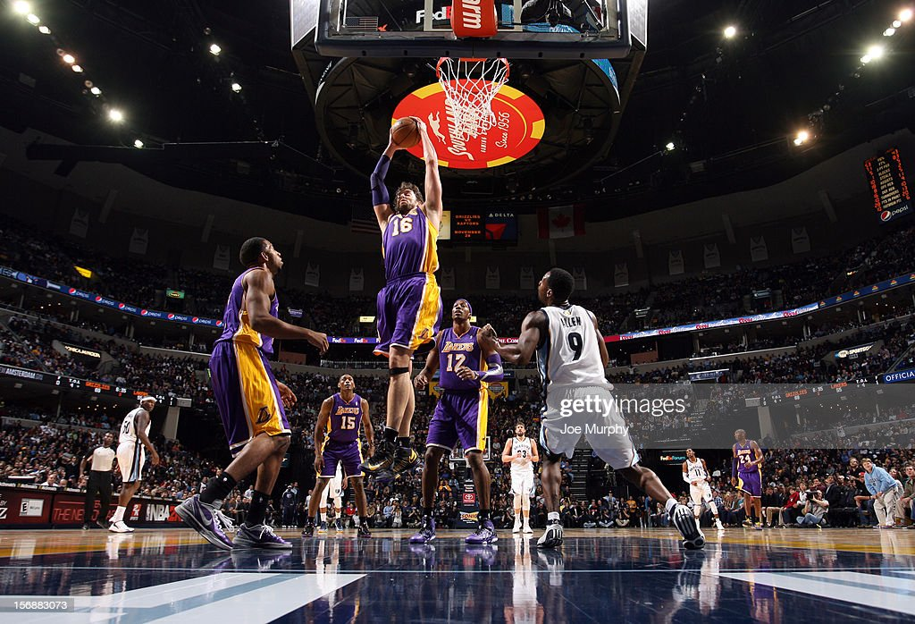 <a gi-track='captionPersonalityLinkClicked' href=/galleries/search?phrase=Pau+Gasol&family=editorial&specificpeople=201587 ng-click='$event.stopPropagation()'>Pau Gasol</a> #16 of the Los Angeles Lakers rebounds against <a gi-track='captionPersonalityLinkClicked' href=/galleries/search?phrase=Tony+Allen+-+Basketball+Player&family=editorial&specificpeople=201665 ng-click='$event.stopPropagation()'>Tony Allen</a> #9 of the Memphis Grizzlies on November 23, 2012 at FedExForum in Memphis, Tennessee.
