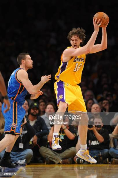 Pau Gasol of the Los Angeles Lakers receives the ball in hte post against Nick Collison of the Oklahoma City Thunder in Game Two of the Western...
