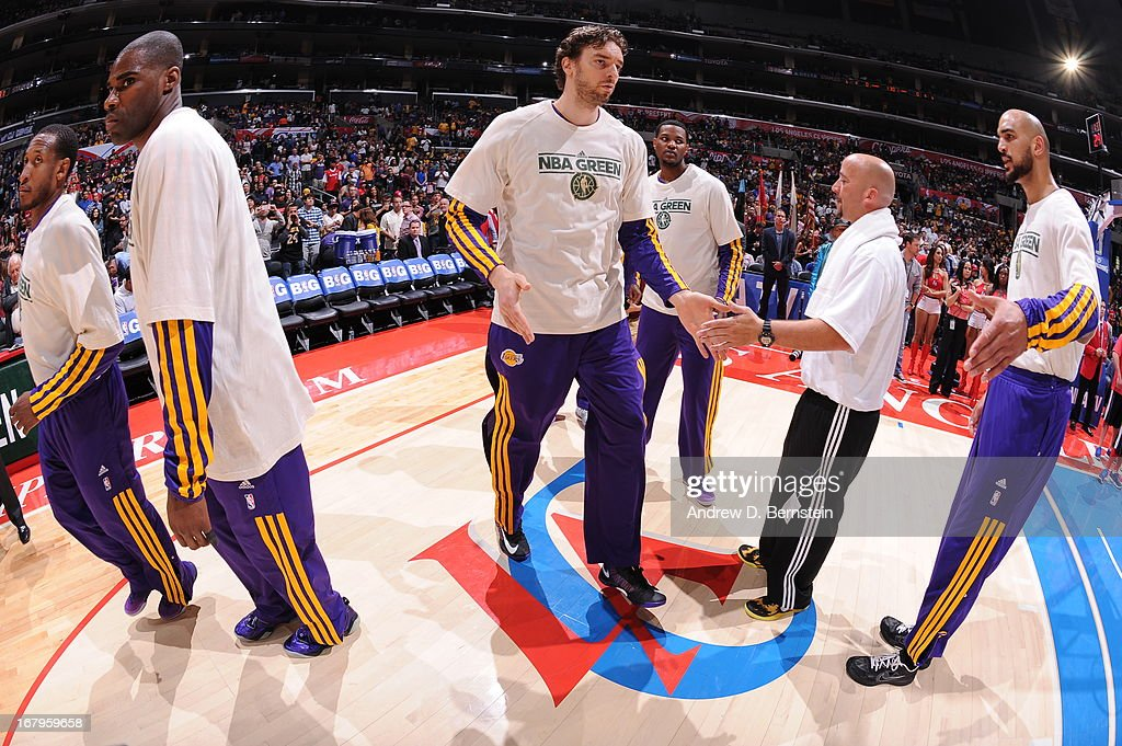 <a gi-track='captionPersonalityLinkClicked' href=/galleries/search?phrase=Pau+Gasol&family=editorial&specificpeople=201587 ng-click='$event.stopPropagation()'>Pau Gasol</a> #16 of the Los Angeles Lakers runs out before the game against the Los Angeles Clippers at Staples Center on April 7, 2013 in Los Angeles, California.