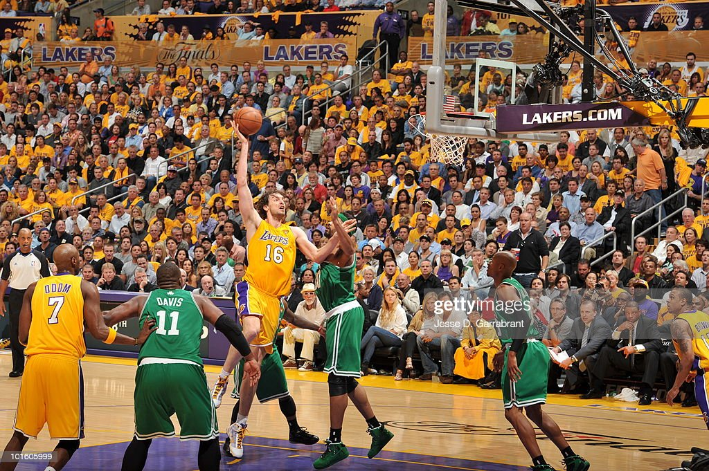 <a gi-track='captionPersonalityLinkClicked' href=/galleries/search?phrase=Pau+Gasol&family=editorial&specificpeople=201587 ng-click='$event.stopPropagation()'>Pau Gasol</a> #16 of the Los Angeles Lakers shoots against <a gi-track='captionPersonalityLinkClicked' href=/galleries/search?phrase=Rasheed+Wallace&family=editorial&specificpeople=201483 ng-click='$event.stopPropagation()'>Rasheed Wallace</a> #30 of the Boston Celtics in Game One of the 2010 NBA Finals on June 3, 2010 at Staples Center in Los Angeles, California. The Lakers won 102-89.