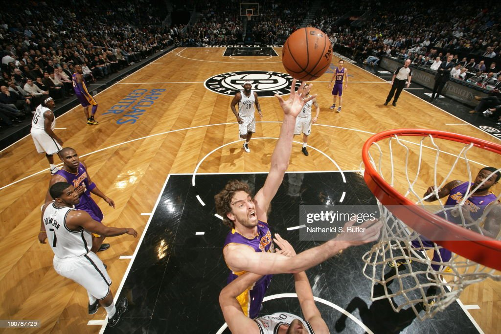 Pau Gasol #16 of the Los Angeles Lakers shoots against the Brooklyn Nets on February 5, 2013 at the Barclays Center in the Brooklyn borough of New York City.