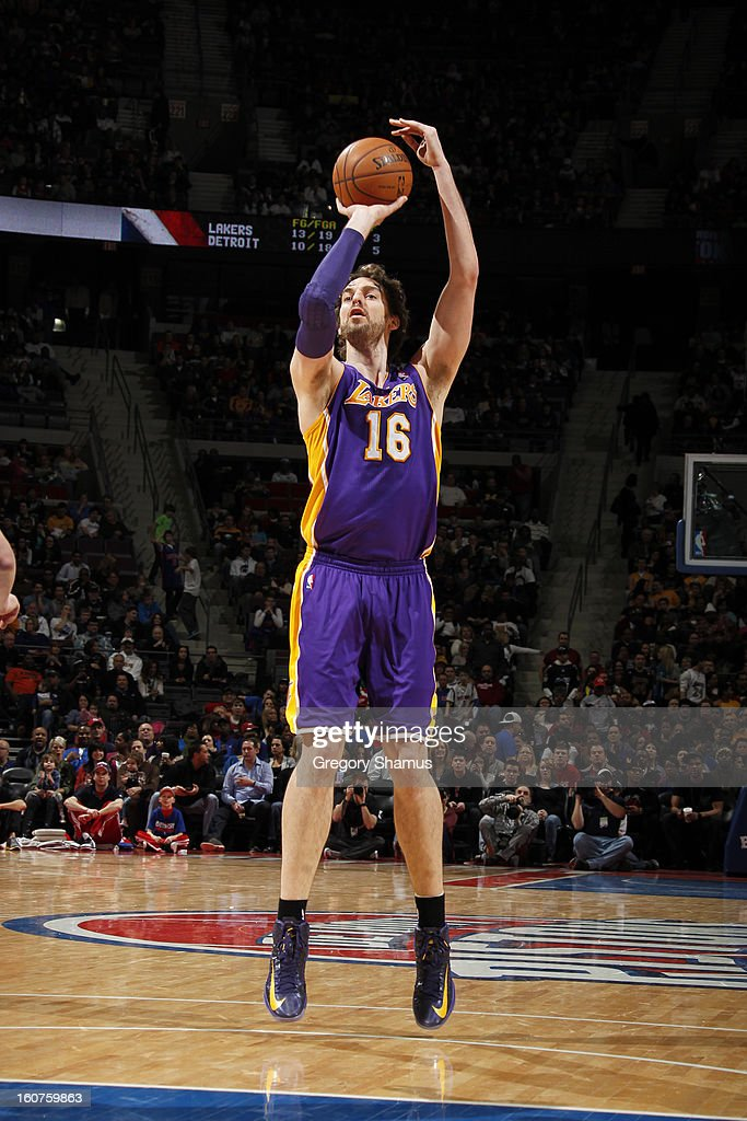 <a gi-track='captionPersonalityLinkClicked' href=/galleries/search?phrase=Pau+Gasol&family=editorial&specificpeople=201587 ng-click='$event.stopPropagation()'>Pau Gasol</a> #16 of the Los Angeles Lakers shoots against the Detroit Pistons on February 3, 2013 at The Palace of Auburn Hills in Auburn Hills, Michigan.