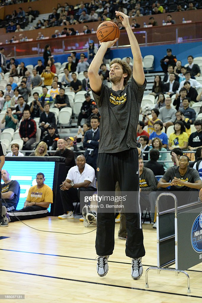 Pau Gasol of the Los Angeles Lakers shoots during Fan Appreciation Day as part of the 2013 Global Games on October 17, 2013 at the Oriental Sports Center in Shanghai, China.