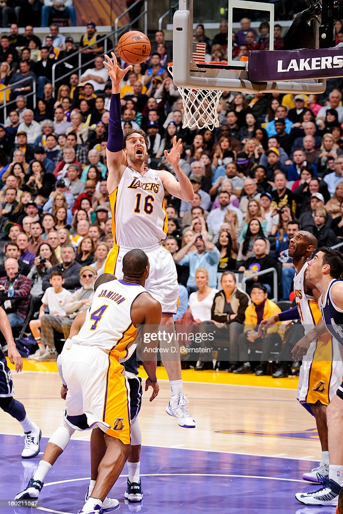 <a gi-track='captionPersonalityLinkClicked' href=/galleries/search?phrase=Pau+Gasol&family=editorial&specificpeople=201587 ng-click='$event.stopPropagation()'>Pau Gasol</a> #16 of the Los Angeles Lakers shoots in the lane against the Oklahoma City Thunder at Staples Center on January 27, 2013 in Los Angeles, California.