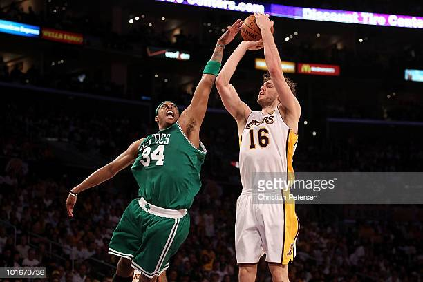 Pau Gasol of the Los Angeles Lakers shoots over Paul Pierce of the Boston Celtics in Game Two of the 2010 NBA Finals at Staples Center on June 6 2010...