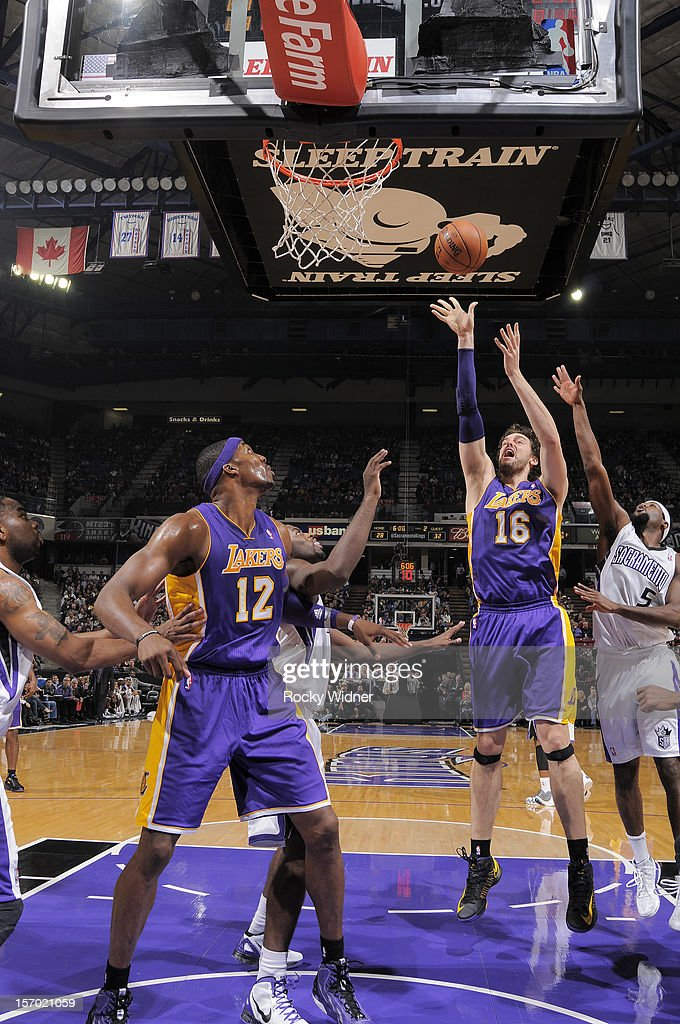<a gi-track='captionPersonalityLinkClicked' href=/galleries/search?phrase=Pau+Gasol&family=editorial&specificpeople=201587 ng-click='$event.stopPropagation()'>Pau Gasol</a> #16 of the Los Angeles Lakers shoots the ball against the Sacramento Kings on November 21, 2012 at Sleep Train Arena in Sacramento, California.