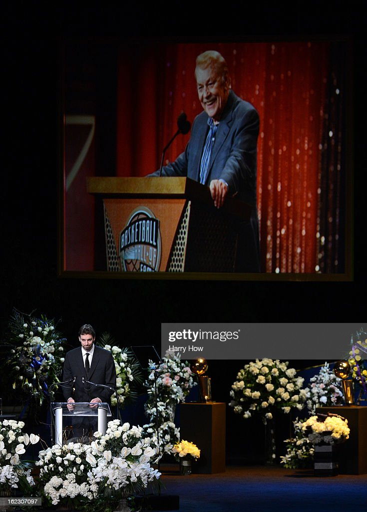 <a gi-track='captionPersonalityLinkClicked' href=/galleries/search?phrase=Pau+Gasol&family=editorial&specificpeople=201587 ng-click='$event.stopPropagation()'>Pau Gasol</a> of the Los Angeles Lakers speaks during a memorial service for Los Angeles Lakers owner Dr. Jerry Buss at the Nokia Theatre L.A. Live on February 21, 2013 in Los Angeles, California. Dr. Buss died at the age of 80 on Monday following an 18-month battle with cancer. Buss won 10 NBA championships as Lakers owner since purchasing the team in 1979.