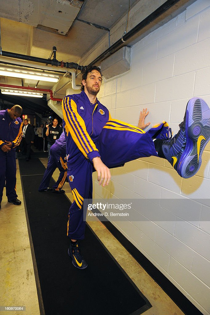 <a gi-track='captionPersonalityLinkClicked' href=/galleries/search?phrase=Pau+Gasol&family=editorial&specificpeople=201587 ng-click='$event.stopPropagation()'>Pau Gasol</a> #16 of the Los Angeles Lakers stretches in the hallway before the game against the Brooklyn Nets on February 5, 2013 at the Barclays Center in the Brooklyn borough of New York City.
