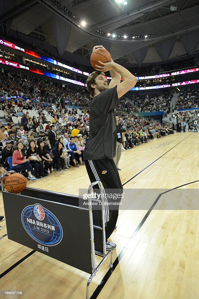 Pau Gasol of the Los Angeles Lakers takes part during Fan Appreciation Day as part of the 2013 Global Games on October 17, 2013 at the Oriental Sports Center in Shanghai, China.