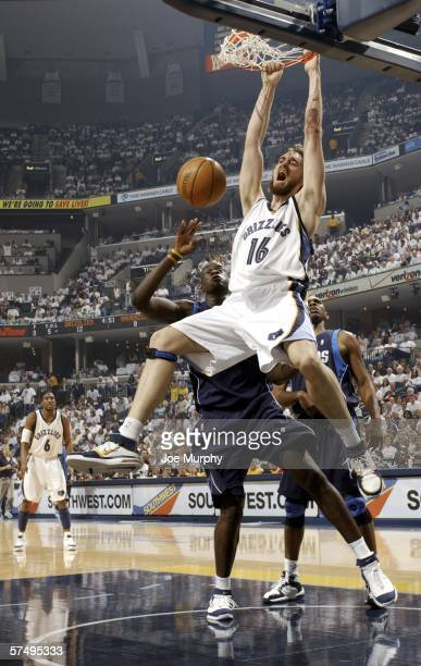 Pau Gasol of the Memphis Grizzlies dunks in game three of the Western Conference Quarterfinals during the 2006 NBA Playoffs at the FedExForum on...