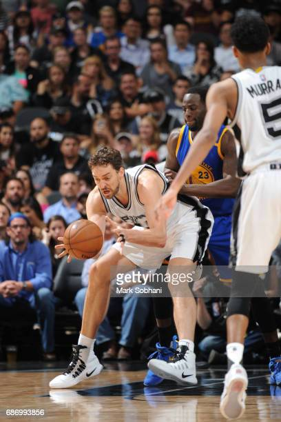 Pau Gasol of the San Antonio Spurs drives to the basket against the Golden State Warriors during Game Four of the Western Conference Finals of the...