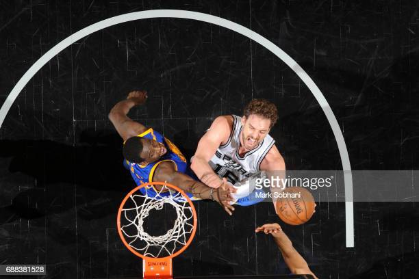 Pau Gasol of the San Antonio Spurs drives to the basket against the Golden State Warriors during Game 3 of the Western Conference Finals on May 22...