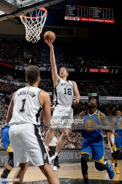 Pau Gasol of the San Antonio Spurs goes to the basket against the Golden State Warriors during Game Four of the Western Conference Finals of the 2017...