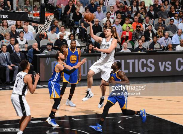 Pau Gasol of the San Antonio Spurs goes up for a lay up against the Golden State Warriors during Game Four of the Western Conference Finals of the...