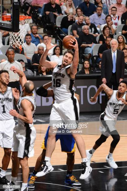 Pau Gasol of the San Antonio Spurs grabs the rebound against the Golden State Warriors during Game Four of the Western Conference Finals of the 2017...