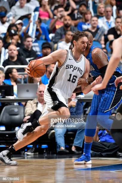 Pau Gasol of the San Antonio Spurs handles the ball against the Orlando Magic on October 27 2017 at Amway Center in Orlando Florida NOTE TO USER User...