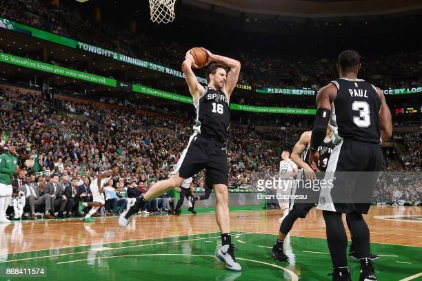 Pau Gasol of the San Antonio Spurs handles the ball against the Boston Celtics on October 30 2017 at the TD Garden in Boston Massachusetts NOTE TO...