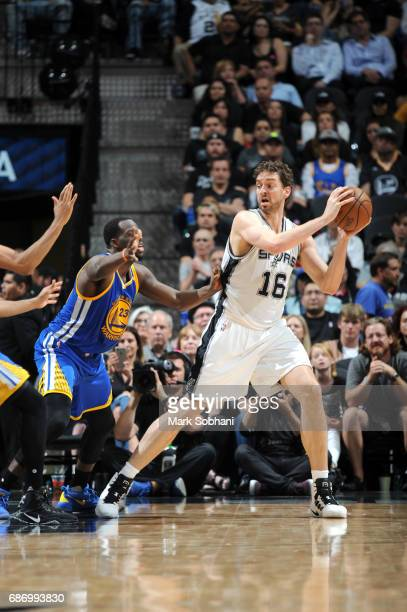Pau Gasol of the San Antonio Spurs handles the ball against the Golden State Warriors during Game Four of the Western Conference Finals of the 2017...