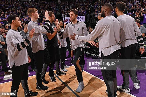 Pau Gasol of the San Antonio Spurs is announced before the game against the Sacramento Kings on October 27 2016 at the Golden 1 Center in Sacramento...
