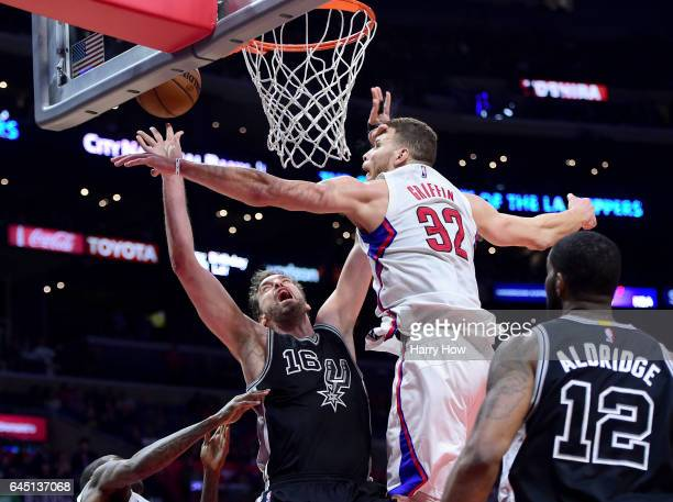 Pau Gasol of the San Antonio Spurs is fouled by Blake Griffin of the LA Clippers during a 10597 Spurs win at Staples Center on February 24 2017 in...