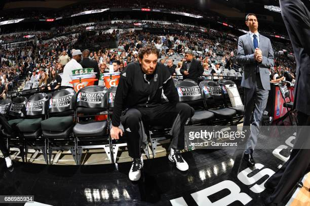 Pau Gasol of the San Antonio Spurs looks on before Game Four of the Western Conference Finals of the 2017 NBA Playoffs on May 22 2017 at the ATT...