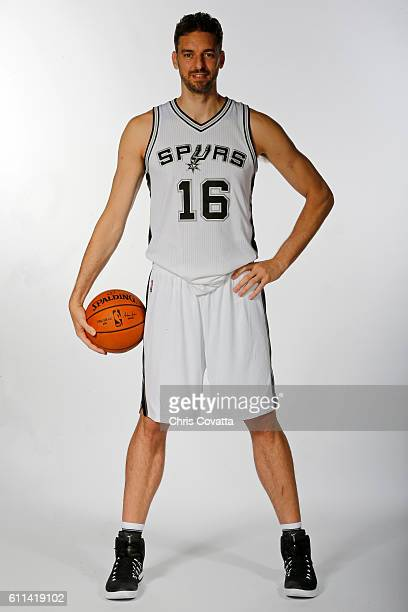 Pau Gasol of the San Antonio Spurs poses for a portrait during Media Day at the Spurs Training Facility on September 26 2016 in San Antonio Texas...