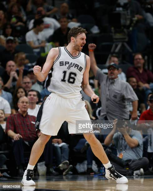 Pau Gasol of the San Antonio Spurs reacts after a basket against the Memphis Grizzlies in Game Two of the Western Conference Quarterfinals during the...