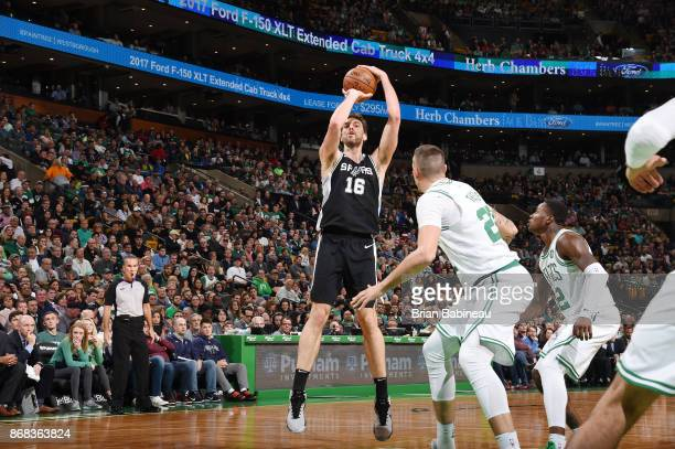 Pau Gasol of the San Antonio Spurs shoots the ball against the Boston Celtics on October 30 2017 at the TD Garden in Boston Massachusetts NOTE TO...