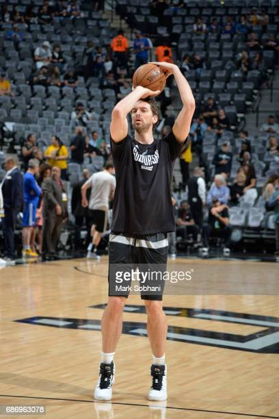 Pau Gasol of the San Antonio Spurs warms up before the game against the Golden State Warriors during Game Four of the Western Conference Finals of...