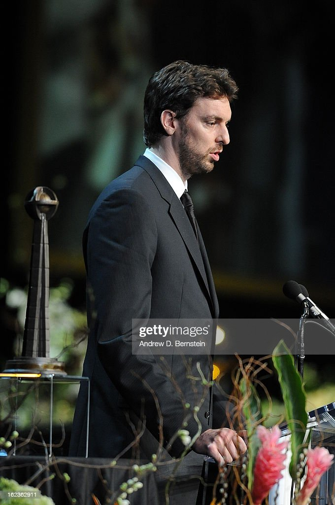 Pau Gasol speaks during the memorial service for Los Angeles Lakers Owner Dr. Jerry Buss at Nokia Theatre LA LIVE on February 21, 2013 in Los Angeles, California.
