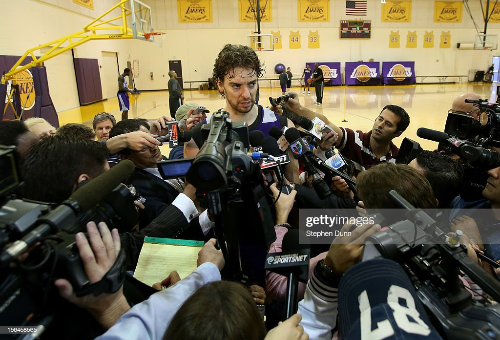 <a gi-track='captionPersonalityLinkClicked' href=/galleries/search?phrase=Pau+Gasol&family=editorial&specificpeople=201587 ng-click='$event.stopPropagation()'>Pau Gasol</a> #16 speaks to the media beforee a press confernece introducing Mike D'Antoni as the new Los Angeles Lakers head coach on November 15. 2012 at the Lakers practice facility at the Toyota Sports Center in El Segundo, California.
