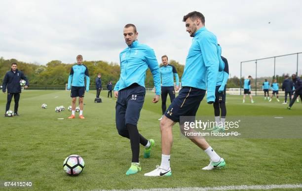Pau Lopez and Hugo Lloris of Tottenham during the Tottenham Hotspur training session at Tottenham Hotspur Training Centre on April 28 2017 in Enfield...