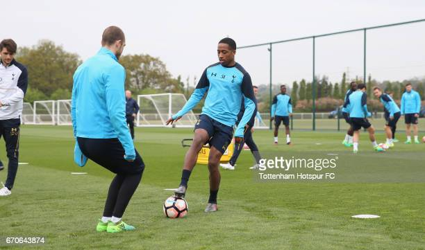Pau Lopez and Kyle WalkerPeters of Tottenham during a Tottenham Hotspur training session at Tottenham Hotspur Training Centre on April 20 2017 in...
