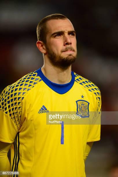 Pau Lopez during the friendly match of national teams U21 of Spain vs Denmark in stadium Nueva Condomina Murcia SPAIN March 23rd 2017