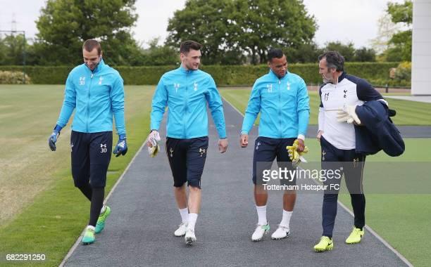 Pau Lopez Hugo Lloris and Michel Vorm of Tottenham with goalkeeping coach Toni Jiménez during the Tottenham Hotspur training session at Tottenham...