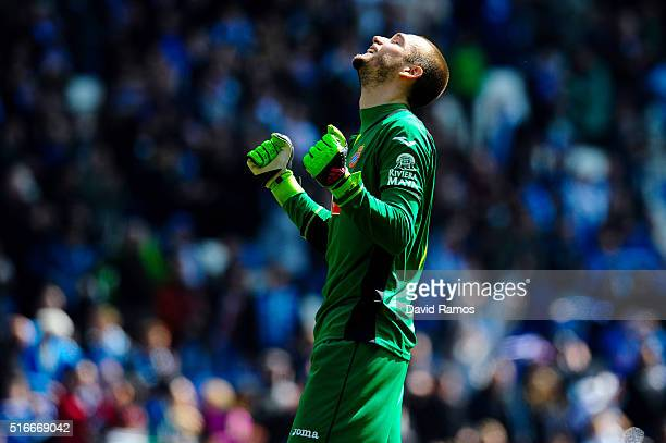 Pau Lopez of RCD Espanyol celebrates at the end of the La Liga match between Real CD Espanyol and Athletic Club de Bilbao at CornellaEl Prat Stadium...