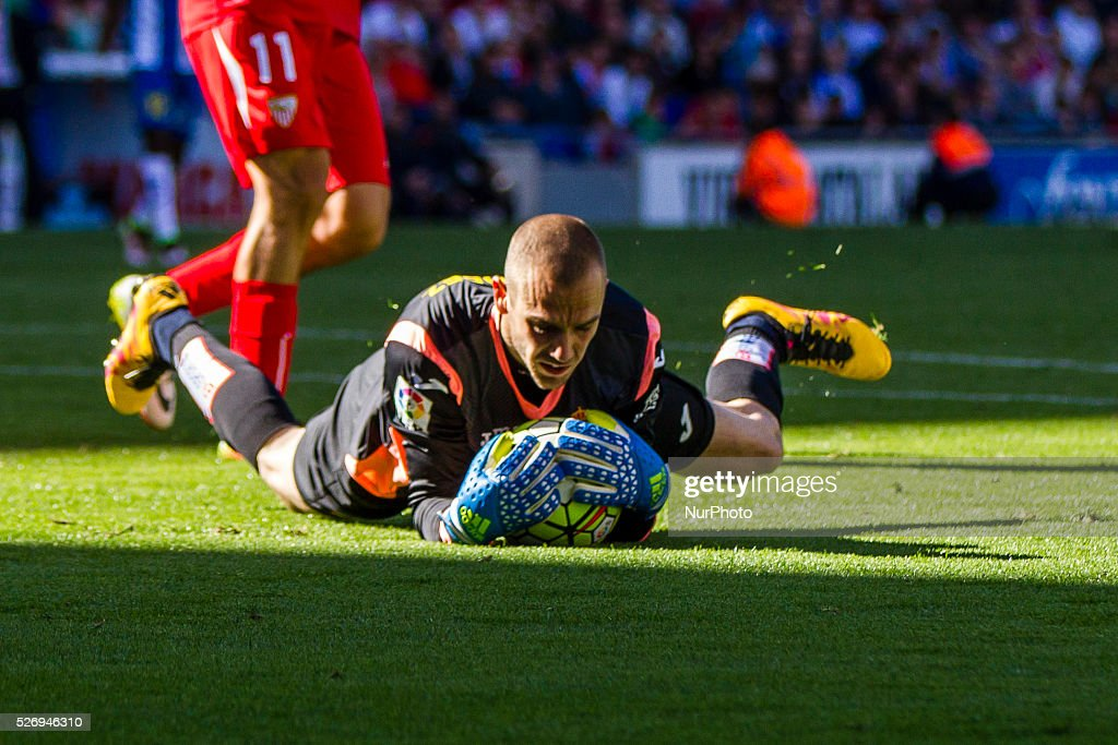 Pau Lopez of RCD Espanyol during the match between RCD Espanyol and Sevilla CF, for the round 36 of the Liga BBVA, played at RCD Espanyol Stadium on 1th May 2016 in Barcelona, Spain.