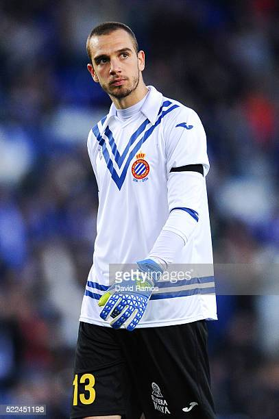 Pau Lopez of RCD Espanyol looks on during the La Liga match between Real CD Espanyol and Celta Vigo at CornellaEl Prat Stadium on April 19 2016 in...