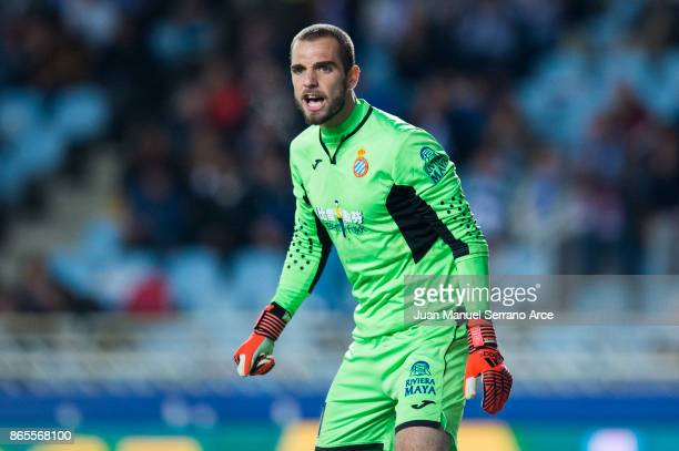 Pau Lopez of RCD Espanyol reacts during the La Liga match between Real Sociedad de Futbol and RCD Espanyol at Estadio Anoeta on October 23 2017 in...