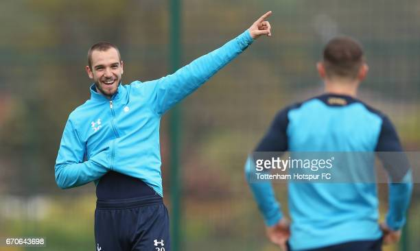 Pau Lopez of Tottenham during a Tottenham Hotspur training session at Tottenham Hotspur Training Centre on April 20 2017 in Enfield England