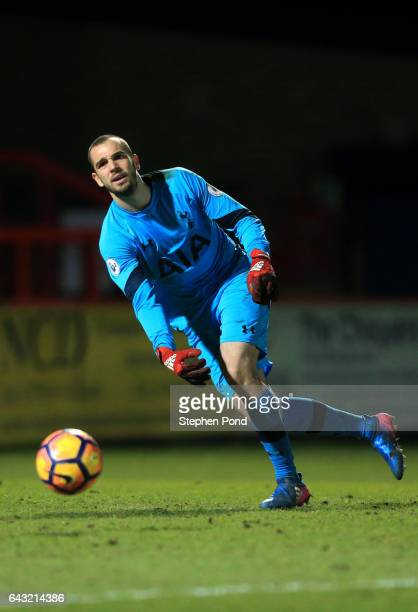 Pau Lopez of Tottenham Hotspur during the Premier League 2 match between Tottenham Hotspur and Sunderland at The Lamex Stadium on February 20 2017 in...